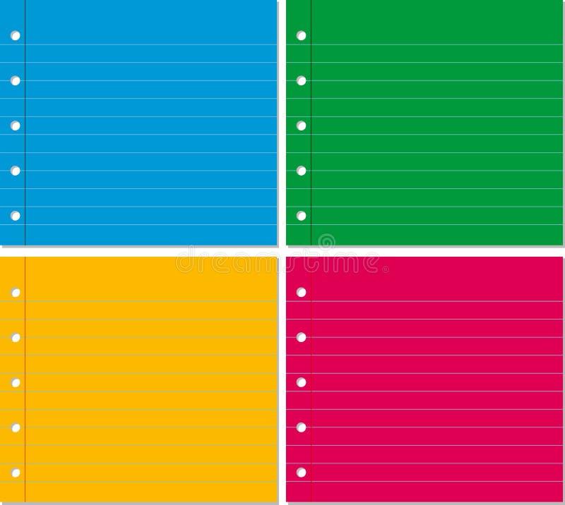 Fond quatre avec la ligne papier dans quatre couleurs illustration de vecteur