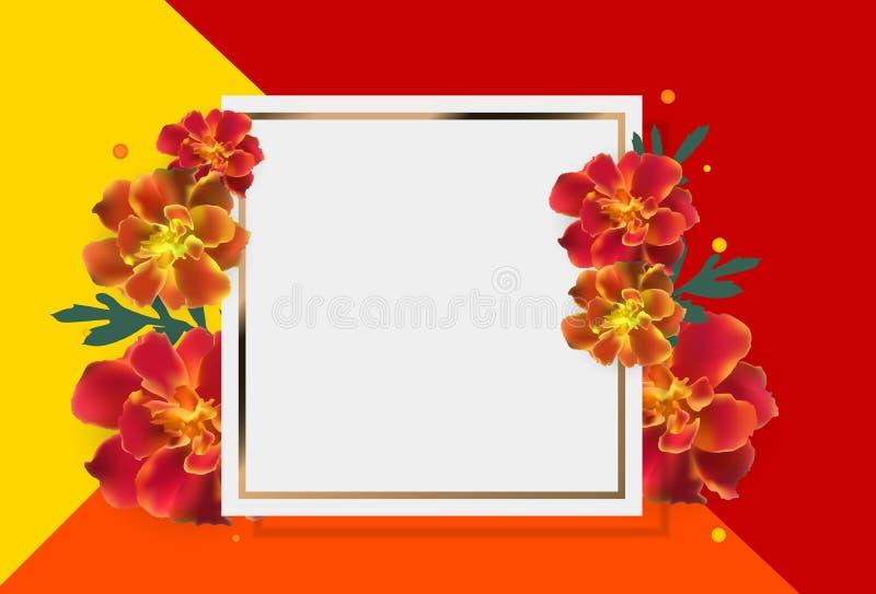 Fond réaliste de cadre de vecteur de fleur abstraite de Tagetes illustration de vecteur