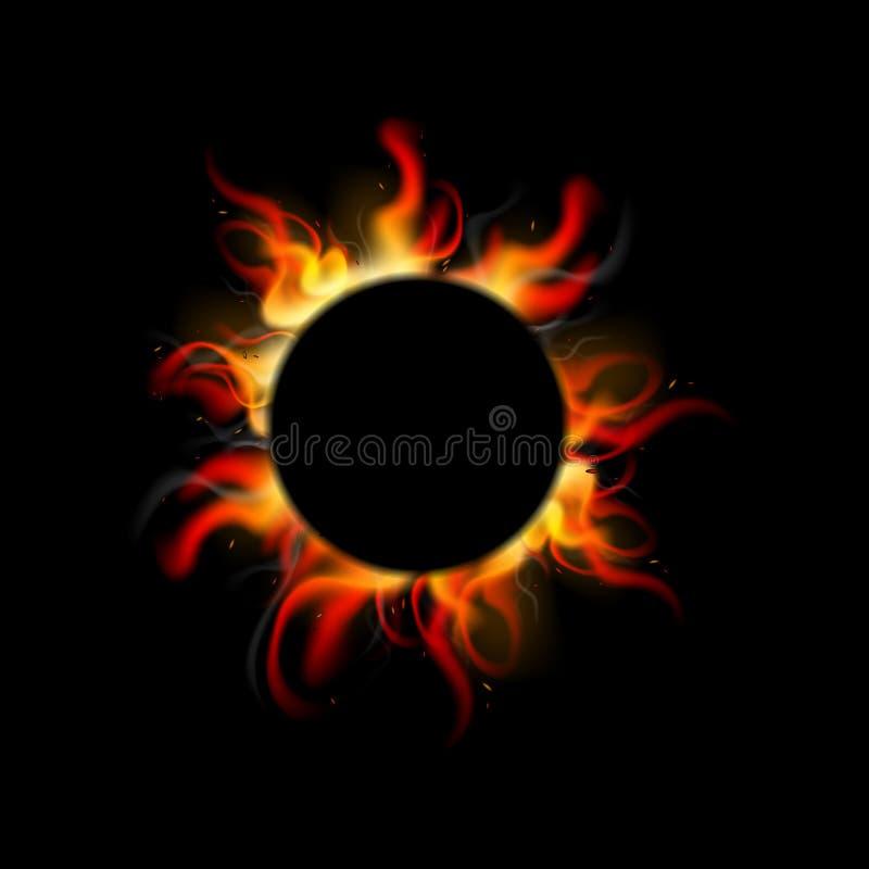 Fond r?aliste du feu en cercle Conception de br?lure de flamme pour des banni?res, affiches, massages, annonces illustration de vecteur
