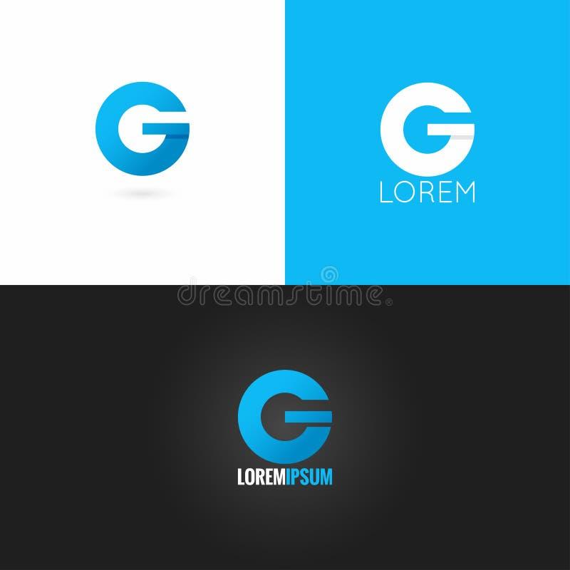 Fond réglé d'icône de conception de logo de la lettre G illustration stock