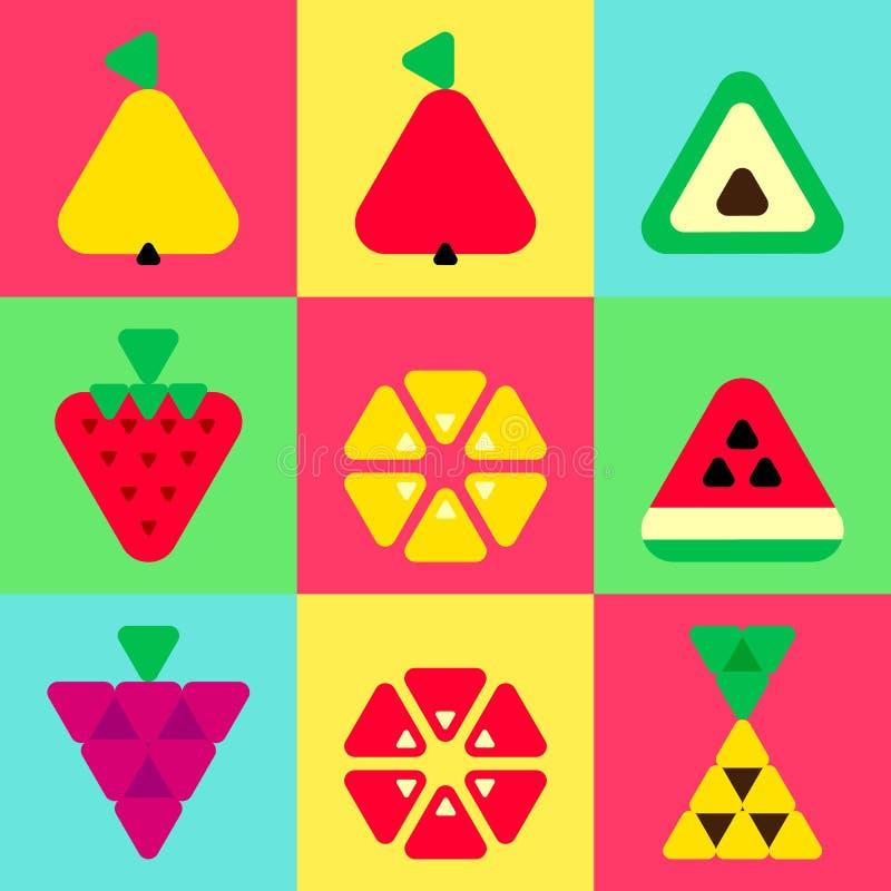 Fond réglé de couleur d'icônes de fruits de triangle illustration de vecteur