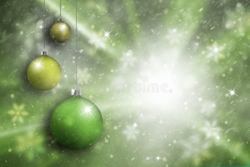 Fond réglé de couleur verte d'ampoule artistique de Noël illustration de vecteur