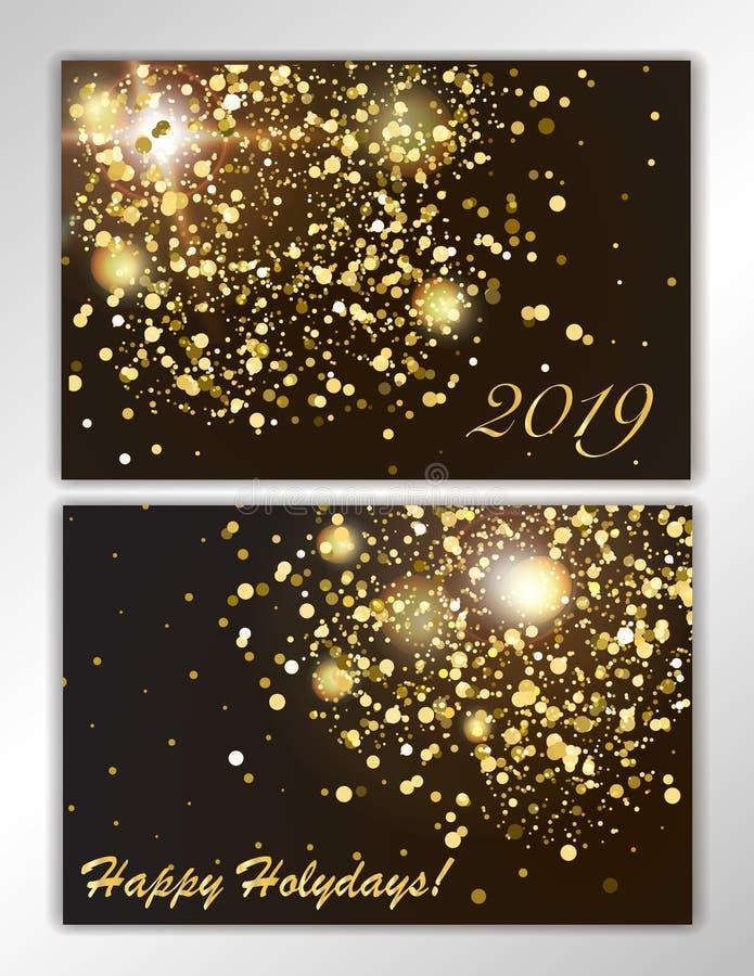 Fond réglé de scintillement avec les lumières rougeoyantes Étincelles d'or sur un contexte noir Kit pour décorer les cartes de vo illustration libre de droits