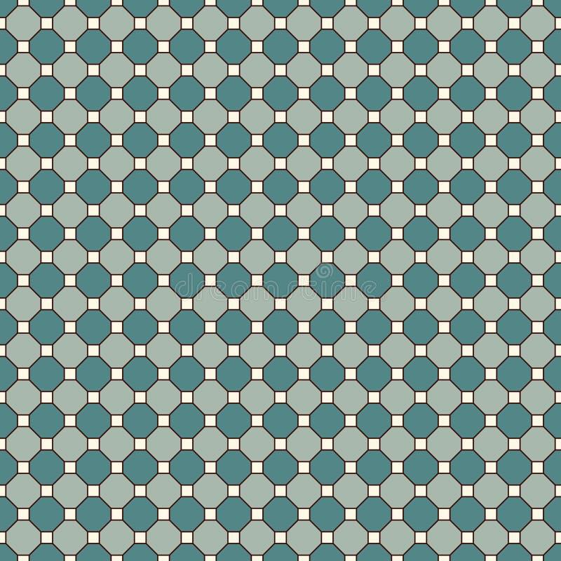 Fond répété de mosaïque en verre souillé d'octogones Carreaux de céramique bleus Modèle sans couture avec l'ornement géométrique illustration libre de droits