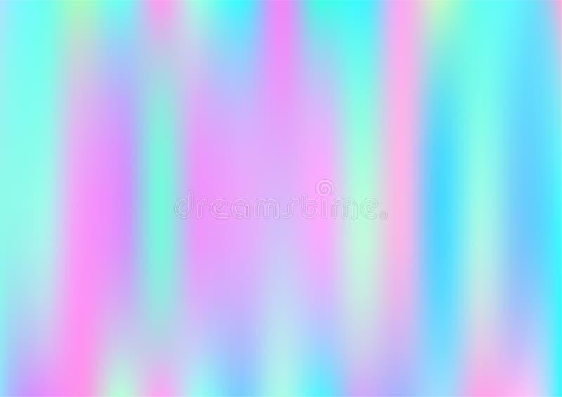 Fond rêveur magique de vecteur d'hologramme Bannière féerique d'hologramme perlé lumineux iridescent de gradient de Girlie d'arc- illustration stock