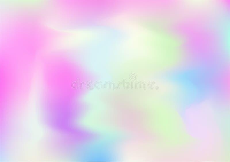 Fond rêveur magique de vecteur d'hologramme Gradient iridescent de Girlie d'arc-en-ciel, papier peint liquide olographe d'affiche illustration libre de droits