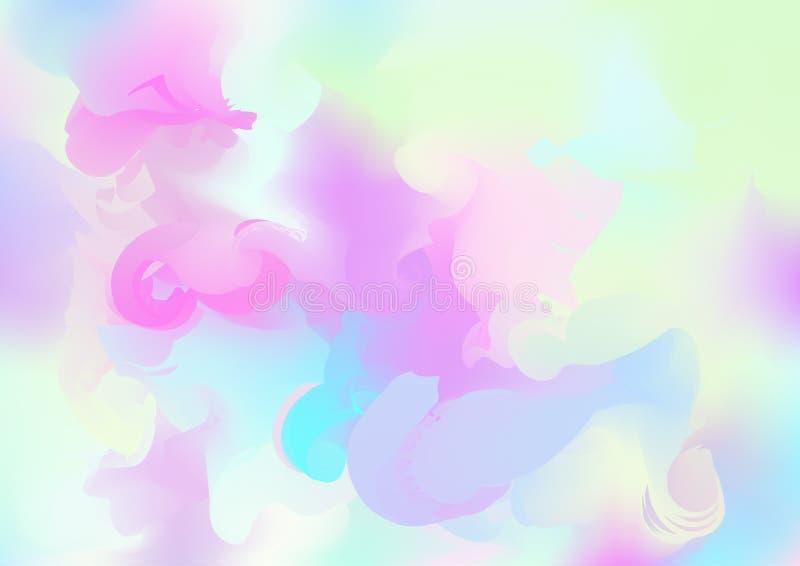 Fond rêveur magique de vecteur d'hologramme Gradient iridescent de Girlie d'arc-en-ciel, papier peint liquide olographe d'affiche illustration stock