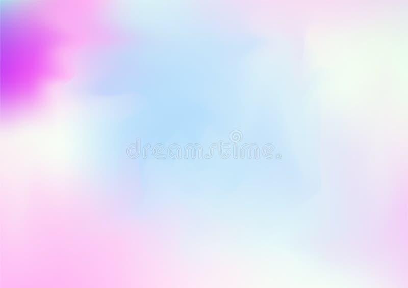 Fond rêveur magique de vecteur d'hologramme Gradient iridescent de Girlie d'arc-en-ciel, papier peint liquide olographe d'affiche illustration de vecteur