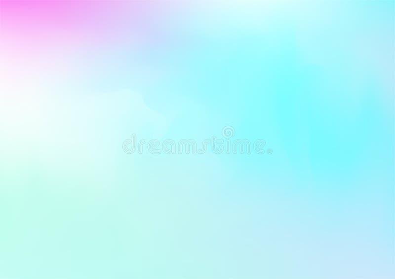 Fond rêveur magique de vecteur d'hologramme Gradient iridescent de Girlie d'arc-en-ciel, papier peint perlé lumineux d'affiche li illustration de vecteur