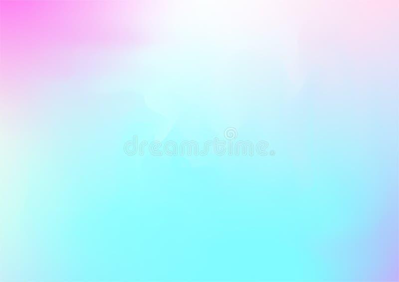 Fond rêveur magique de vecteur d'hologramme Gradient iridescent de Girlie d'arc-en-ciel, perlé lumineux de papier peint liquide o illustration de vecteur