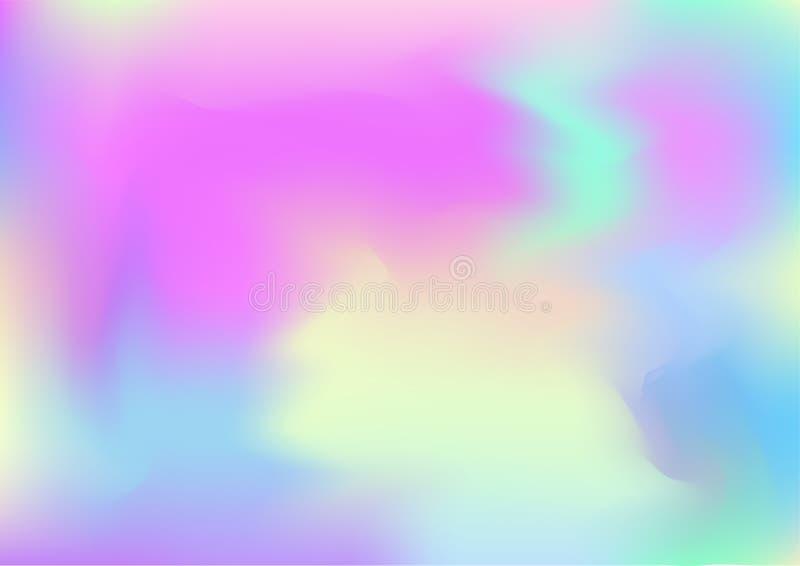 Fond rêveur magique de vecteur d'hologramme Papier peint moderne perlé liquide olographe de Holo de gradient iridescent de Girlie illustration libre de droits