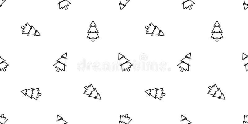 Fond r de tuile d'illustration de bande dessinée d'isolement par écharpe en bois sans couture de montagne de neige de forêt de Sa illustration stock