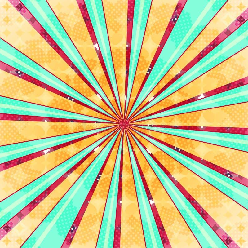 Fond radial abstrait d'éclat du soleil Lumière colorée de rétro style absorbée derrière Illustration de vecteur ENV 10 illustration de vecteur