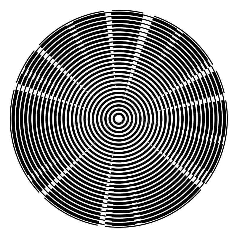 Fond radial de technologie de cercles centrés de noir illustration de vecteur