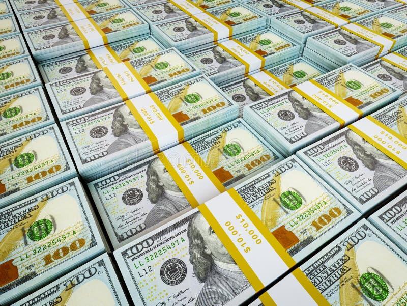 Fond - rangées des paquets de dollars US illustration stock