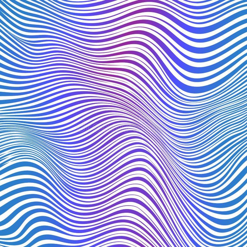 Fond rayé bleu et rose abstrait de vagues illustration de vecteur