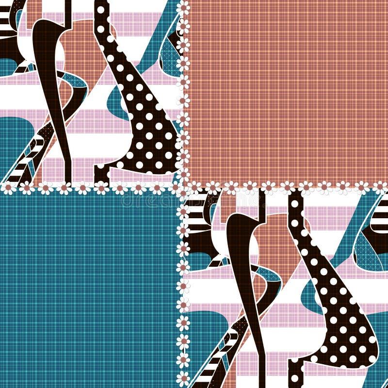 Fond rayé d'ornement sans couture de modèle de patchwork illustration libre de droits
