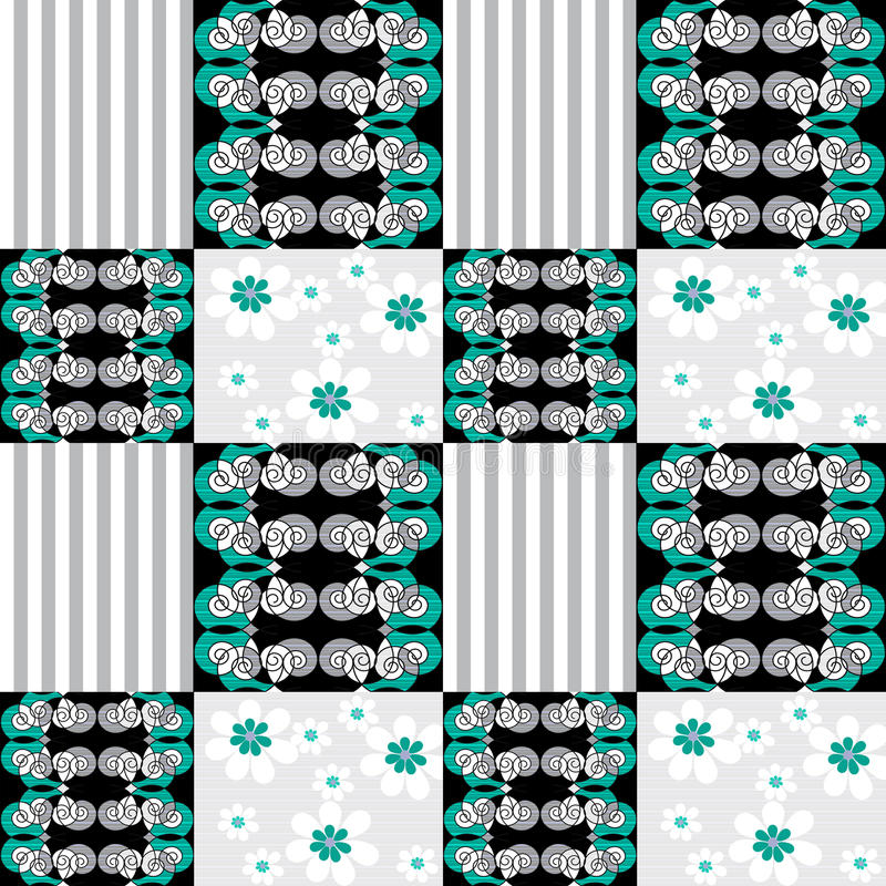 Fond rayé d'ornement sans couture de modèle de patchwork illustration stock