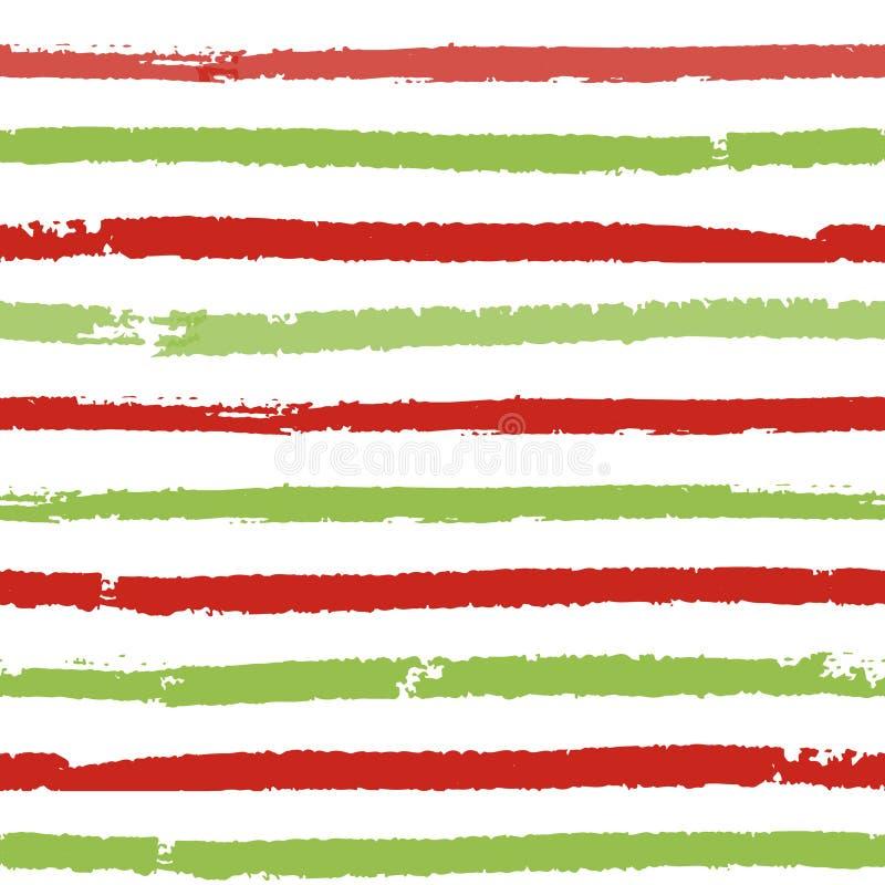 Fond rayé de Noël Modèle sans couture de vecteur avec les lignes peintes par brosse illustration libre de droits
