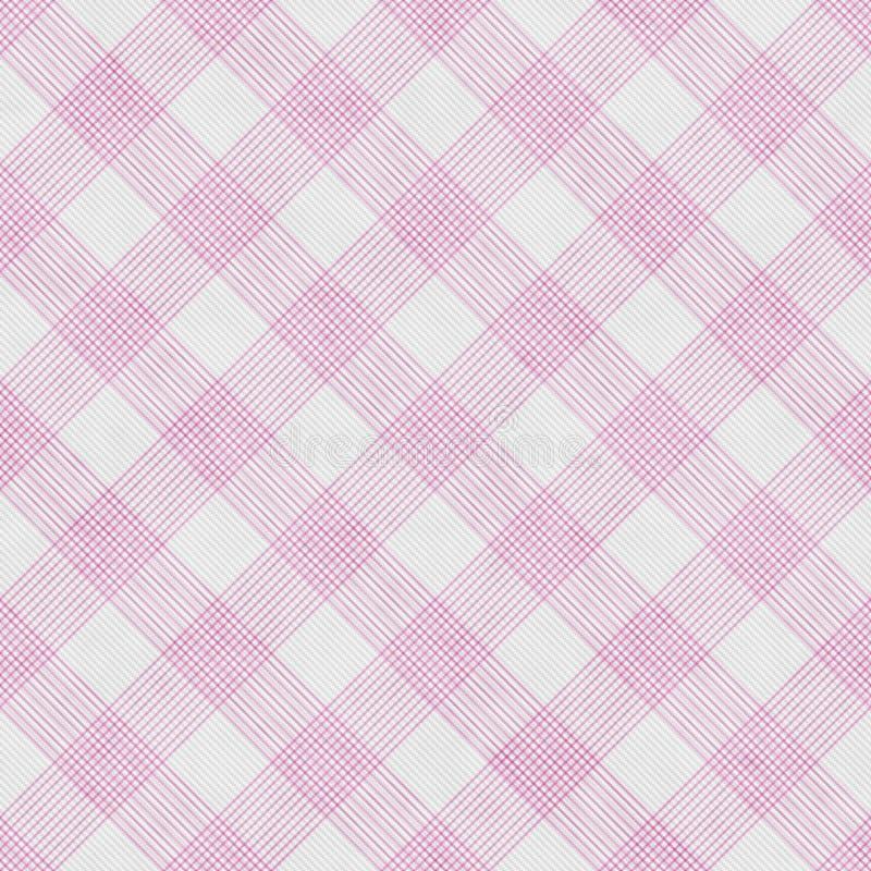 Fond rayé de rose et blanc de guingan de tuile de modèle de répétition illustration de vecteur