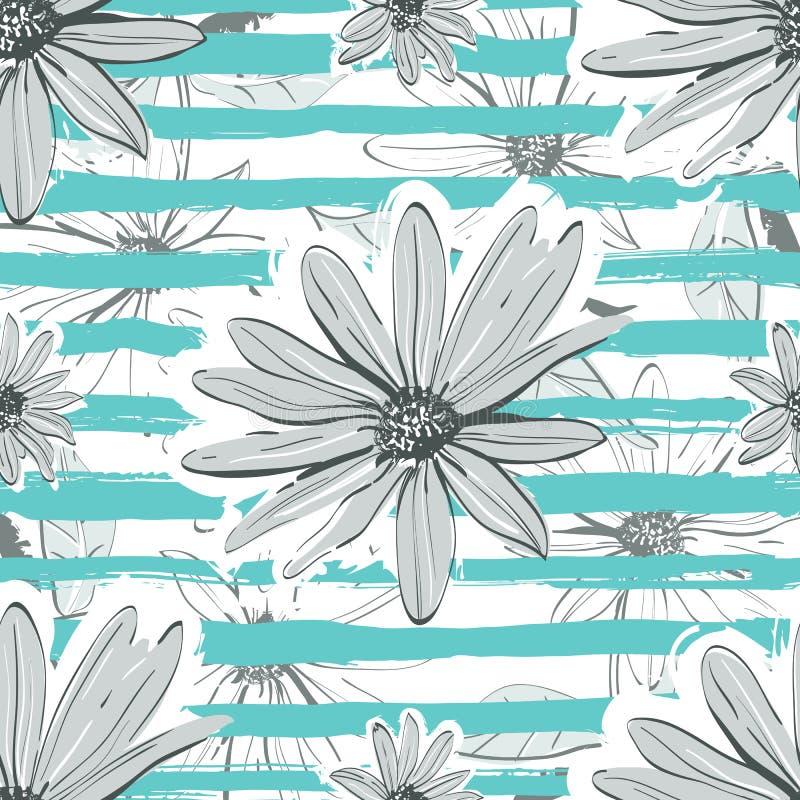 Fond rayé de turquoise sans couture de modèle de fleur Camomille tirée par la main, contexte floral illustration stock