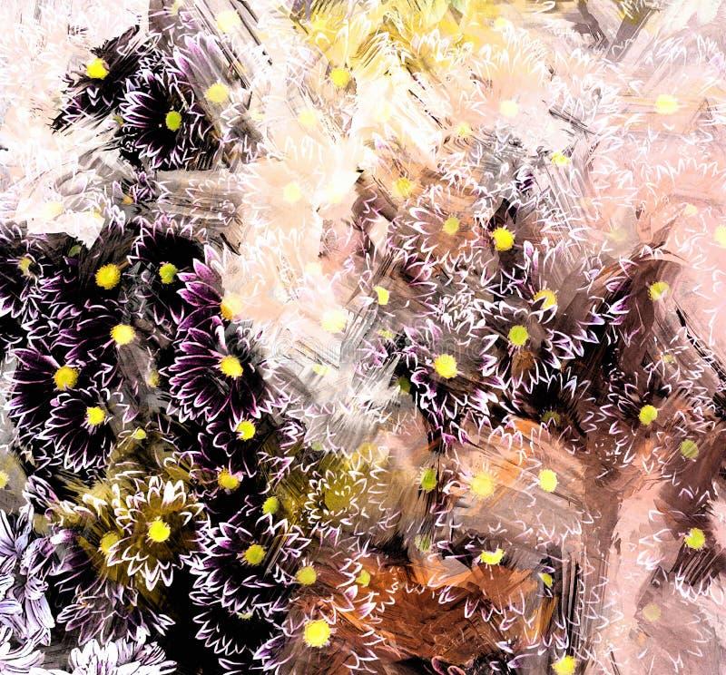 Fond rayé et souillé de grunge floral avec de petits chrysanthèmes de esquisse stylisés illustration stock
