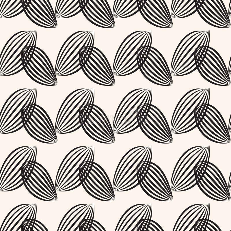 Fond rayé noir de feuilles Configuration graphique sans joint illustration stock