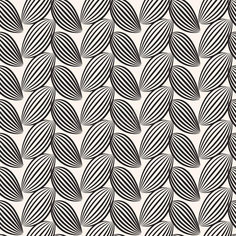 Fond rayé noir de feuilles Configuration graphique sans joint illustration de vecteur