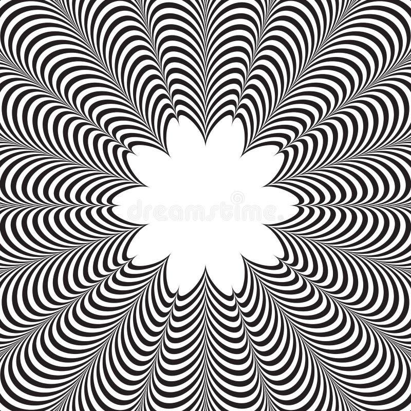 Fond rayé noir et blanc de vecteur abstrait Illusion optique illustration de vecteur