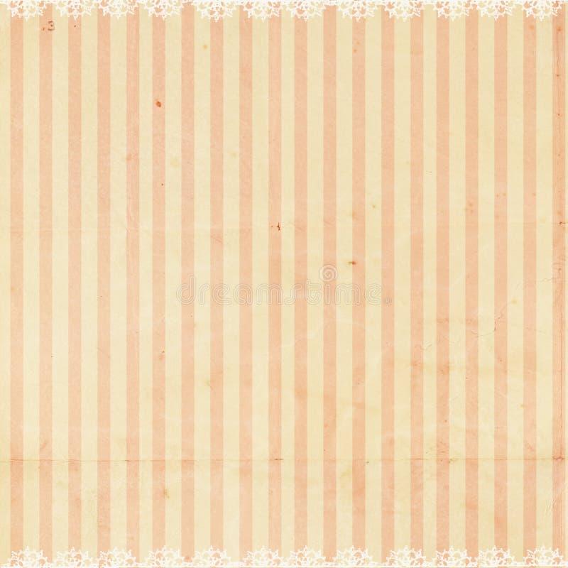Fond rayé rose avec la garniture de lacet image stock