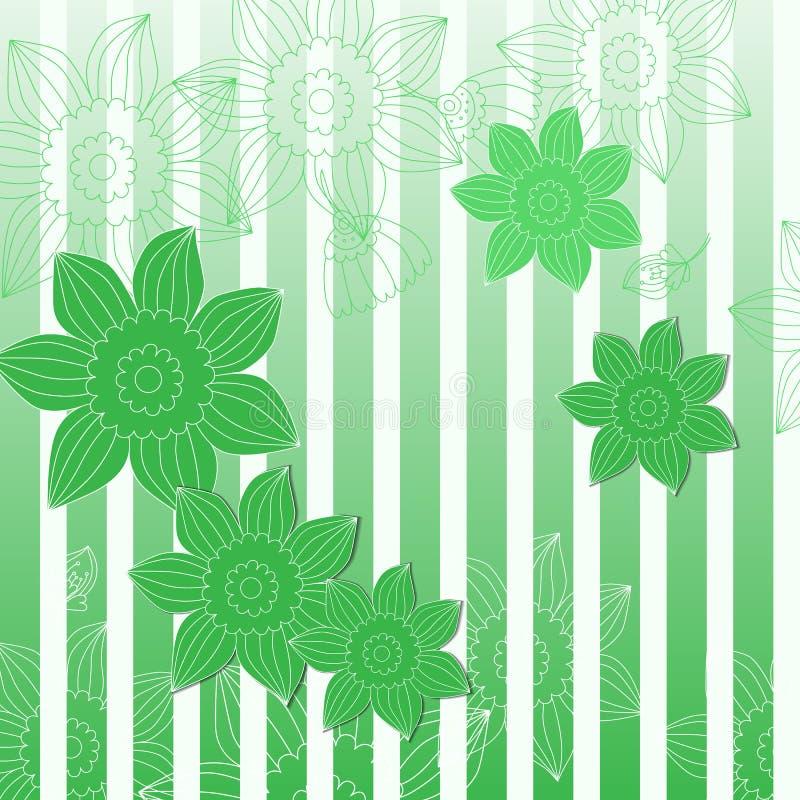 Fond rayé vert avec des fleurs illustration libre de droits
