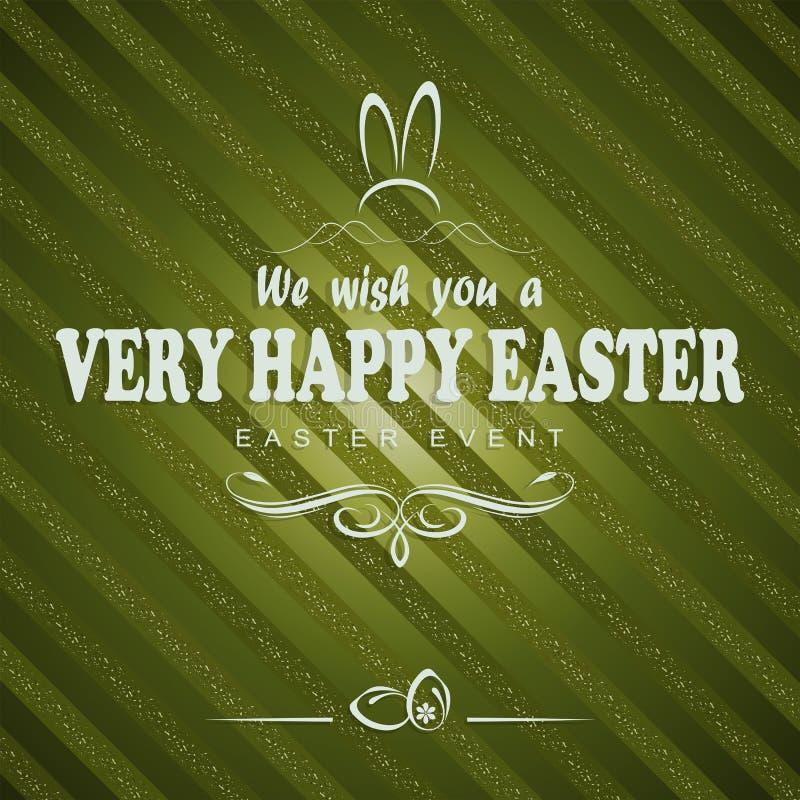 Fond rayé vert avec un texte heureux de Pâques, carte postale illustration libre de droits