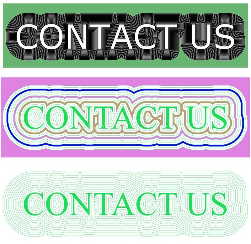 Fond rectangulaire de couleur verte avec le charme de contactez-nous illustration libre de droits