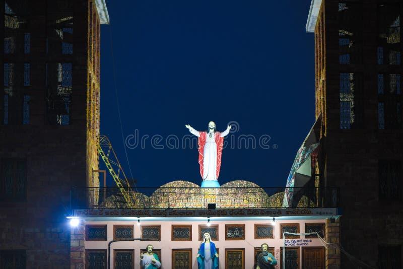 Fond religieux de temple de l'Inde Jésus d'église de Noël photographie stock