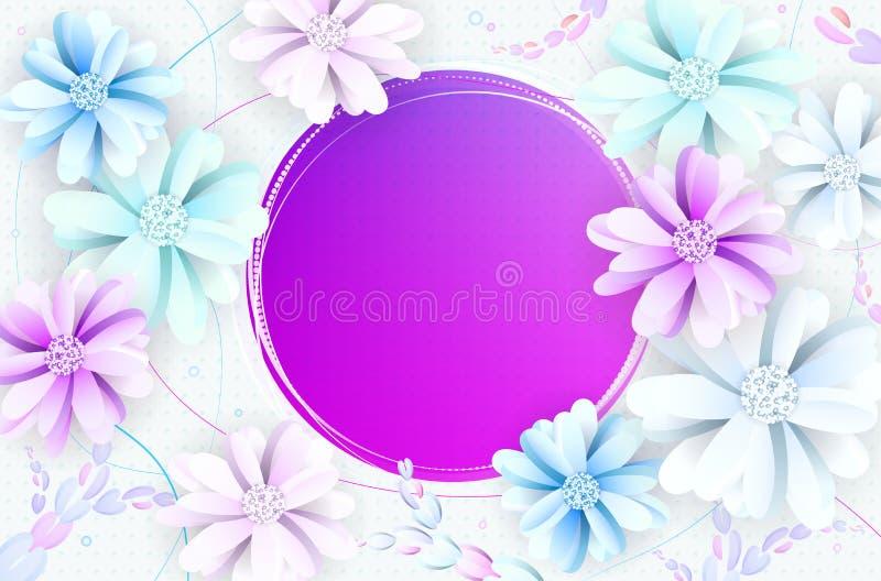 Fond romantique abstrait de fleur avec le cadre vide pour le votre je illustration libre de droits