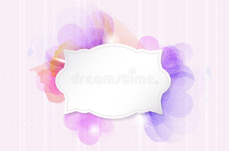 Fond romantique abstrait de fleur avec le rétro cadre de papier illustration libre de droits