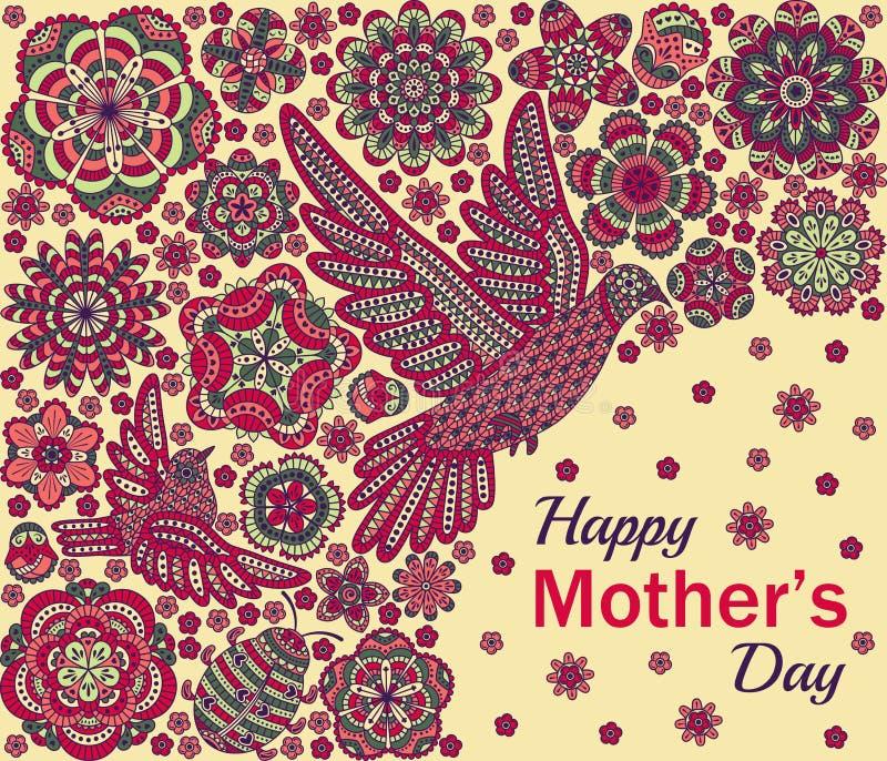 Fond romantique avec des fleurs, des oiseaux et la coccinelle Design de carte pour le jour de mères heureux illustration stock