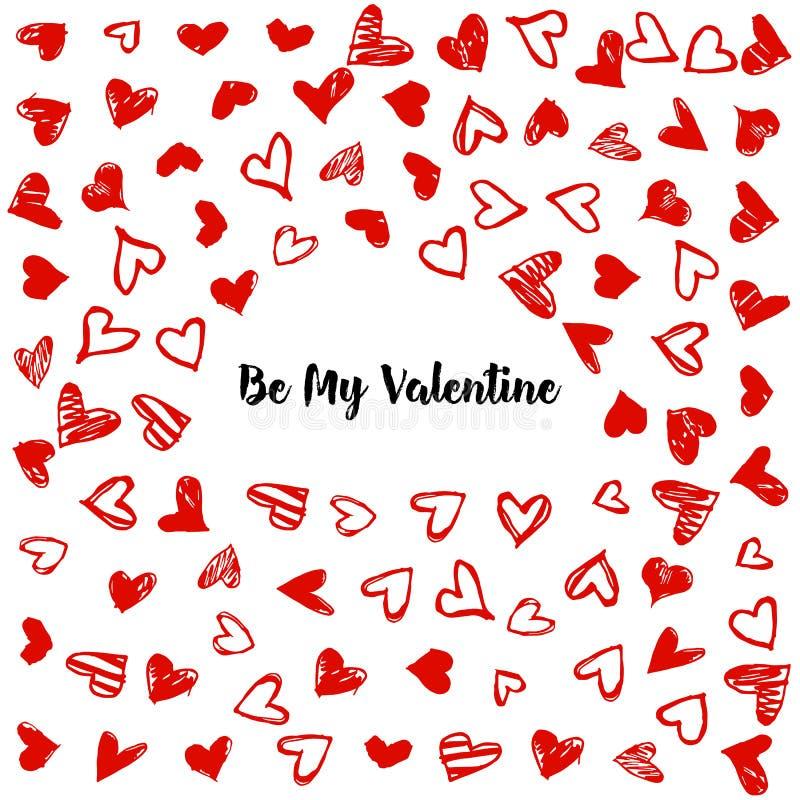 Fond romantique avec les coeurs tirés par la main de griffonnage Contexte de vecteur de jour de valentines, calibre de conception illustration de vecteur