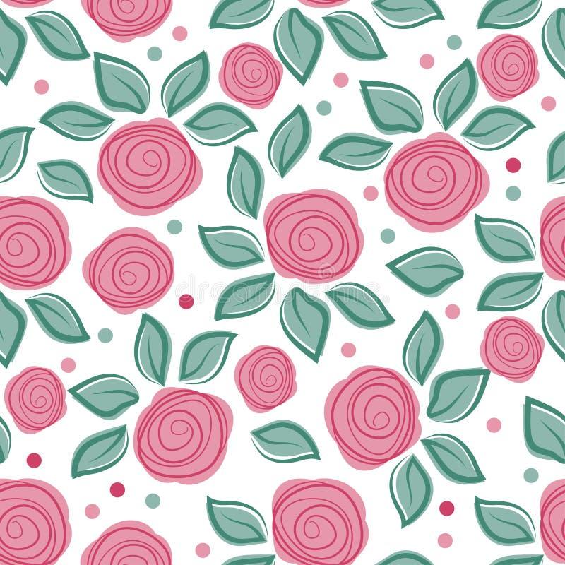 Fond romantique avec les roses mignonnes sur le fond blanc Modèle floral de vintage mignon Illustration de vecteur avec les fleur illustration stock
