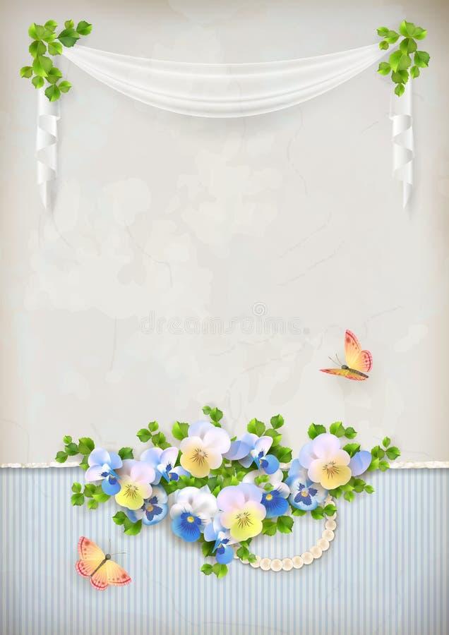 Fond romantique chic minable de vintage de fleur illustration libre de droits