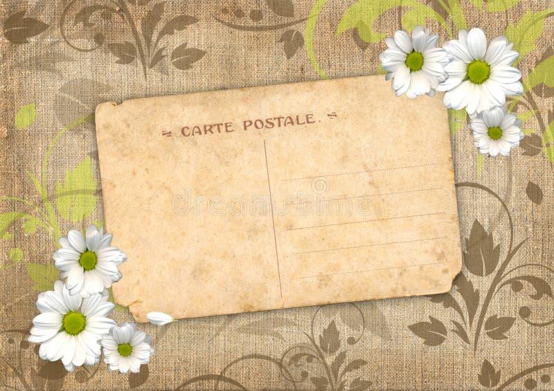 Fond romantique d'album avec la carte postale illustration stock