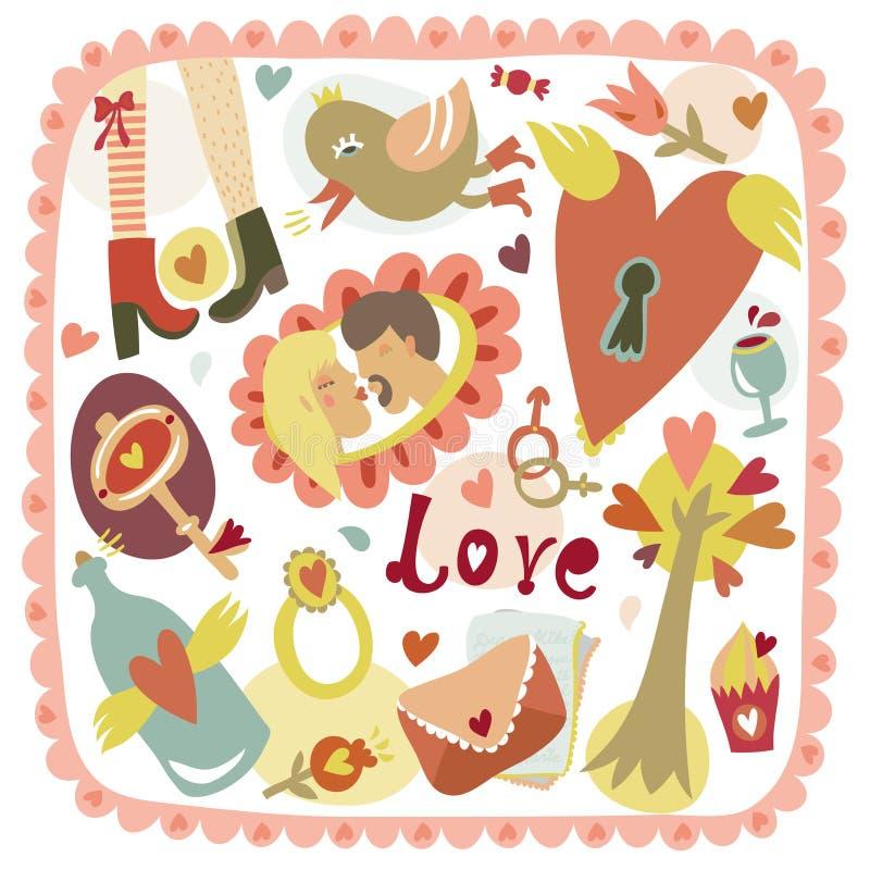 Fond romantique d'amour de bande dessinée colorée illustration stock