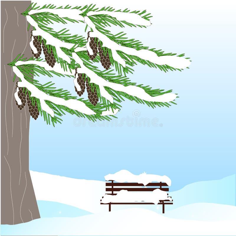 Fond romantique d'hiver avec l'arbre de sapin vert, cône brun, banc, dans la neige blanche sur le ciel bleu illustration stock