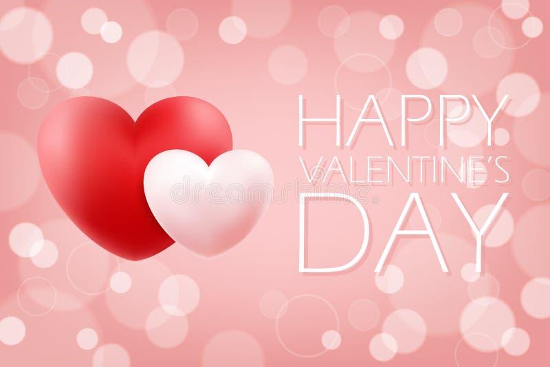 Fond romantique de Valentine de jour heureux du ` s avec les coeurs réalistes rouges et roses 14 février salutations de vacances illustration stock