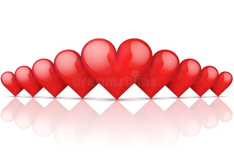 Fond romantique rouge réaliste de coeurs illustration de vecteur
