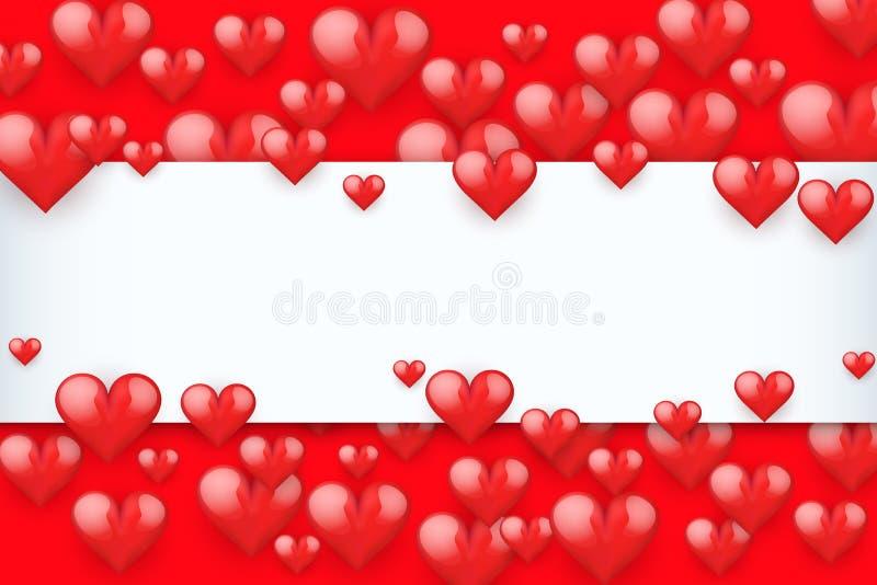 Fond romantique rouge réaliste de coeurs illustration libre de droits