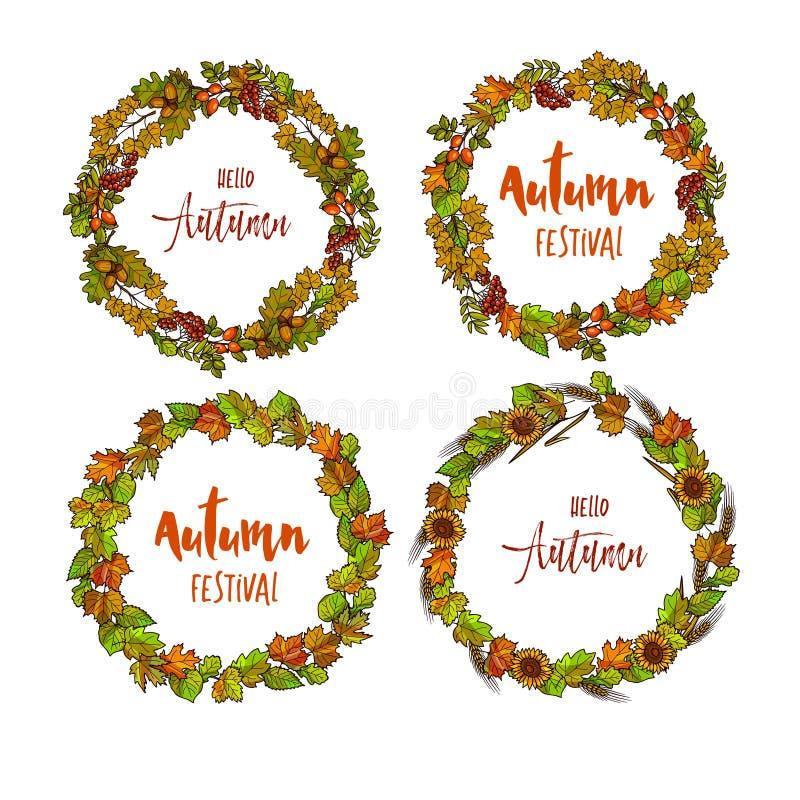 Fond rond automnal ou de chute de cadre Guirlande des feuilles d'automne illustration libre de droits