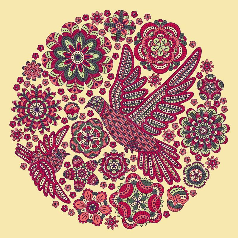 Fond rond avec des fleurs et des oiseaux illustration stock