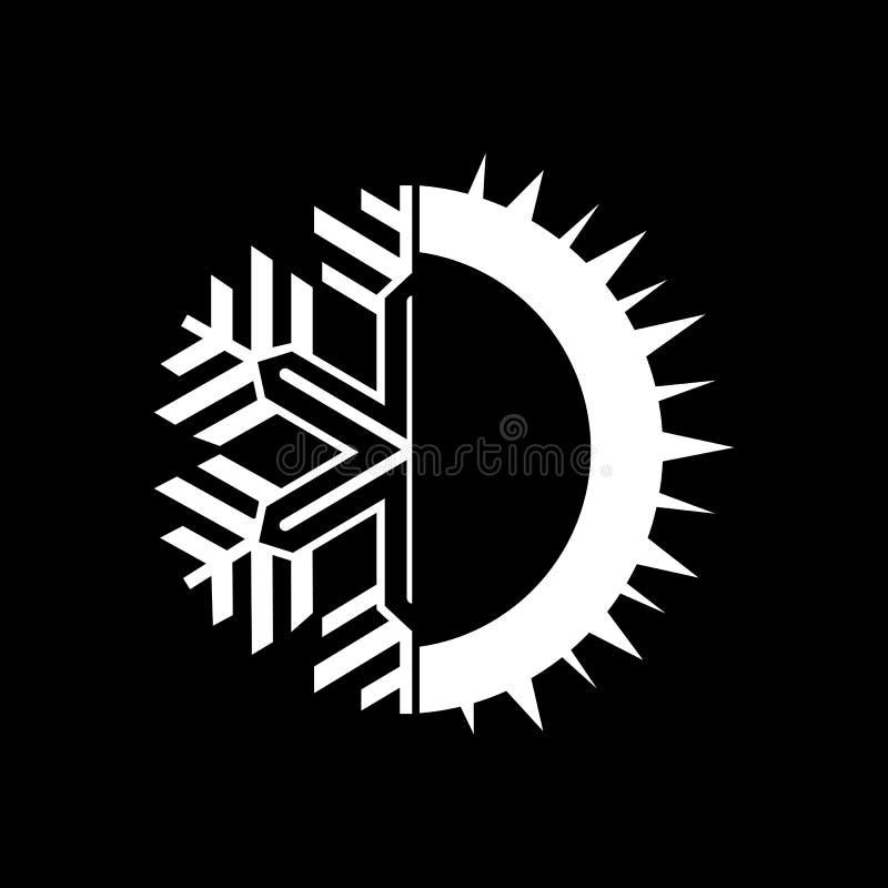 Fond rond chaud et froid de noir de signe Équilibre IC de la température illustration libre de droits