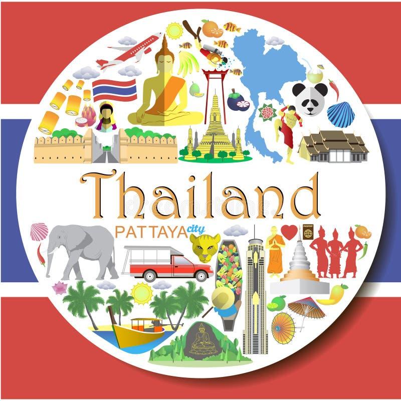 Fond rond de la Thaïlande L'ensemble a coloré les icônes de vecteur et les symboles plats de la Thaïlande illustration libre de droits